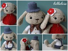 Downloadable pattern written in English (US terminology) and Dutch. Mister Bunny is a true gentleman – handsome and polite. He is wearing a white shirt with buttons, overalls and a solid hat. A tie around his neck give him the final polished look. Size: about 30 cm (12 inches) Skill level: intermediate (single crochet) Supplies: The pattern uses 3.5 crochet hook and aran (10 ply) weight yarn. Pattern is very detail and includes lots of pictures. If you have any problems following my instr...
