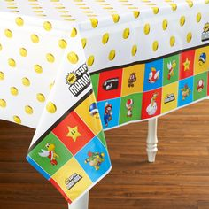 """Super Mario Bros. Plastic Tablecover Includes: (1) themed 54"""" x 108"""" plastic tablecover. This is an officially licensed Super Mario product. Weight (lbs) 0.56 Length (inches) 13.75 Width (inches) 7.5"""
