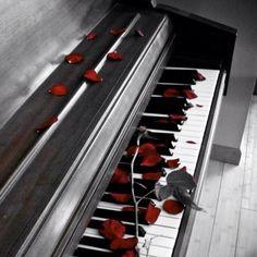 Una tastiera e delle rose rosse...