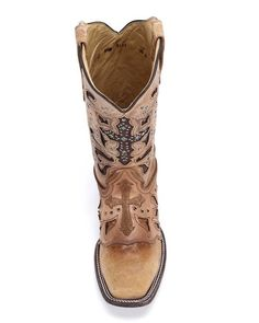 Womens Antique Saddle Metal Cross Boot - C1167,