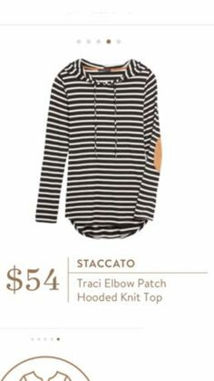Staccato Traci Elbow Patch Hooded Knit Top - Fall striped hooded sweatshirt stich fix with elbow patches