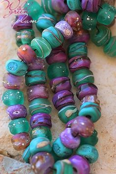 Wild Green Plum Seeds (50) handmade glass lampwork beads | beadsandbotanicals - Jewelry on ArtFire
