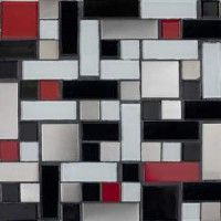 Red Black White And Gray Mosaic Tile Would Be Great For A Backsplash