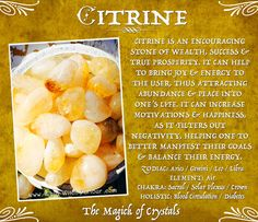 Magic of Crystals - Citrine Crystal Healing Stones, Citrine Crystal, Crystal Magic, Stones And Crystals, Chakra Crystals, Gem Stones, Levels Of Consciousness, Minerals And Gemstones, Book Of Shadows