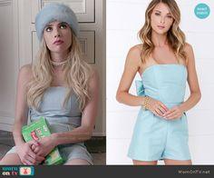 Chanel's blue strapless romper on Scream Queens.  Outfit Details: http://wornontv.net/53580/ #ScreamQueens
