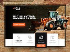 All Time Hire Website Design by Archt Padero Corporate Website Design, Wordpress Website Design, Web Layout, Layout Design, Construction Website, Construction Branding, Portfolio Website Design, Website Design Inspiration, Create Website