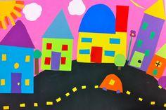 Art: Expression of Imagination: Cut Paper Neighborhood by Sixth Grade Kindergarten Art Lessons, Art Lessons Elementary, Classroom Art Projects, Art Classroom, 2nd Grade Art, Sixth Grade, Grade 1, Construction Paper Art, Square 1 Art