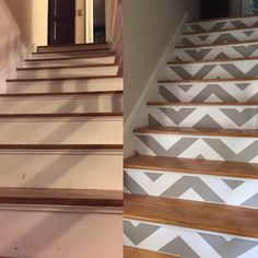 Just wallpapered my stairs with Devine removable wallpaper from Target in the zig-zag pattern.  They turned out so well!