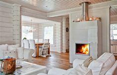 The fireplace again, in Kontio Kruunuhaka Helsinki House Design, Home Decor Inspiration, Scandinavian Home, House Interior, House, White Fireplace, Summer Home Decor, Home, Log Homes
