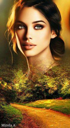 Beautiful Fantasy Art, Beautiful Gif, Beautiful Girl Image, Eyes Artwork, Beautiful Girl Makeup, Surrealism Painting, Romantic Pictures, Digital Art Girl, Woman Painting