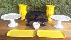 Kit Festa Branco Amarelo e Azul Marinho — ALUGUEL by Design Festeiro