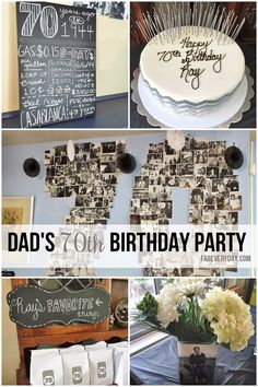 Details from dad's milestone birthday party décor. Black, white, and gray chevron color scheme. 70th Birthday Decorations, 75th Birthday Parties, 70th Birthday Ideas For Mom, 70th Birthday Party Ideas For Mom, Cake Birthday, Surprise Birthday, Bash, Grandpa Birthday, Milestone Birthdays