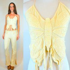GAUZE Cotton Jumpsuit. Vintage 70s Boho Cream by BluegrassVoodoo, $238.00