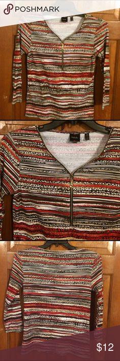 EUC, very cute striped, zip up front top, EUC, very cute striped, zip up front top, quarter length sleeves, soft & comfy. Rafaella Tops