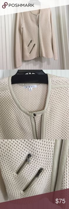 🎄Cabi Roadster Moto Sweater Moto inspired Cabi sweater with contrasting textures. Asymmetric front zipper and 2 slant zipper pockets. Contrast leather trim. NWOT Never worn from smoke free home. ❗️Price Firm❗️ CAbi Sweaters Cardigans