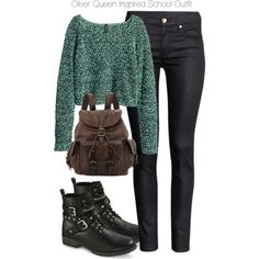 Arrow - Oliver Queen Inspired School Outfit by staystronng on Polyvore featuring polyvore, fashion, style, H&M, Mossimo, Frye, Winter, school, Arrow and OliverQueen