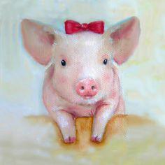 Pink Pig Nursery Art Canvas Print Painting by Junko Van Norman