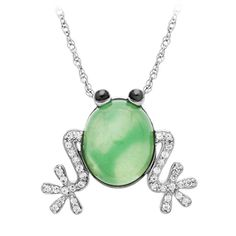 Fred Meyer Jewelers | Chrysoprase and White Sapphire Frog Pendant $127.50 #FredMeyerJewelers and #GiftsThatDelight