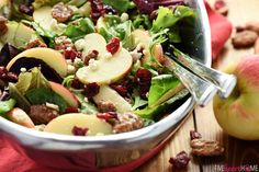 This gorgeous Holiday Honeycrisp Salad is full of flavor and texture, with fresh apples, crunchy pecans, dried cranberries, and zippy blue cheese!