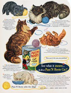 Publicité Vintage - Chats - Puss 'n Boots Cat Food - 1951