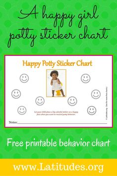 This potty training sticker chart is ideal because it lets the toddler enjoy an immediate sticker reward that they can see and revisit. It's our second in our potty series, with a different graphic than the first potty chart we posted, but using the same concept. Mom or Dad may decide to give a separate reward (like a small treat) in addition to the sticker, but praise and a colorful fun sticker should be enough of an incentive to encourage the behavior.