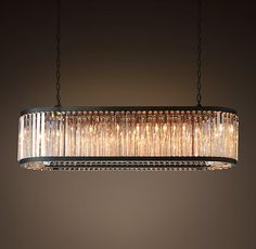 "Welles Clear Crystal 60"" Rectangular Chandelier - Grey Iron (actually more grey than black)"