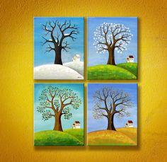 Seasons Set of 4 Original Paintings Naive Folk by RomanovArtStudio, $255.00