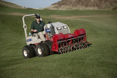Aerating a golf course with Ventrac