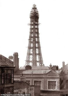 The partially built tower, undated. Blackpool Promenade, Blackpool Beach, Blackpool England, Robin Hoods Bay, Seaside Art, Shot Show, Tower Building, Paris Eiffel Tower, Old Pictures