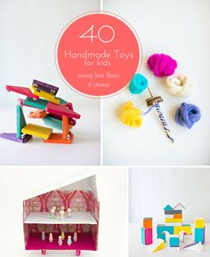 Great list of easy DIY handmade toys to make kids using less than 6 items.