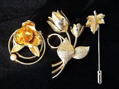 Lot Vintage Flower Rose Leaf Brooches Coat Sweater Pins Gold Tone Retro Jewelry