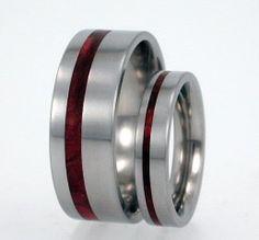 Titanium Ring Set with Redwood Pinstripe Inlay