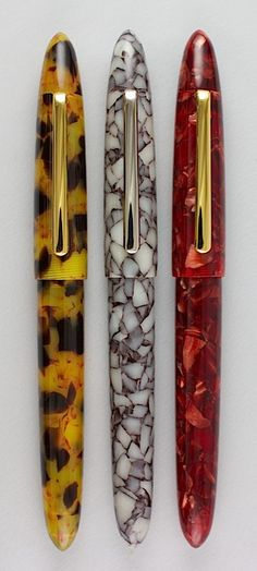 Edison Pen - The Herald.  Old school, celluloid looks.  Especially the left most one.
