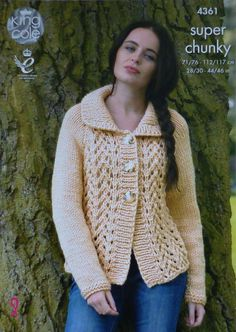 Womens Knitting Pattern K4361 Ladies Long Sleeve Lace Front Jacket with Collar Knitting Pattern Super Chunky (Super Bulky) King Cole by KnittingPatterns4U on Etsy https://www.etsy.com/ca/listing/253431730/womens-knitting-pattern-k4361-ladies