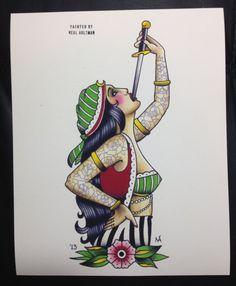Sword-swallower 8x10 Watercolor Print