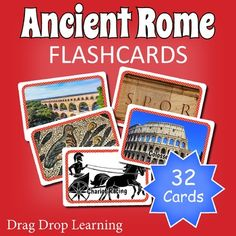 Ancient Rome for Kids: printable ancient Rome flashcards for classroom games and activities. Chariot Racing, Classroom Games, Classroom Ideas, Romulus And Remus, Punic Wars, Horrible Histories, Matching Games, Vocabulary Words, Ancient Rome