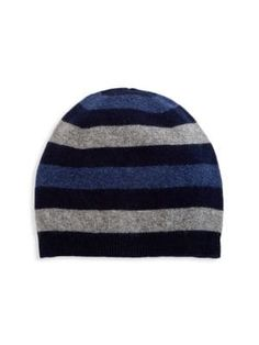 Saks Fifth Avenue Collection Striped Cashmere Beanie In Navy Denim Fifth Avenue Collection, Cashmere Beanie, Saks Fifth Avenue, Rib Knit, Mens Fashion, Navy, Denim, Knitting, Classic