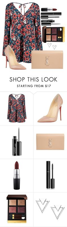 """""""Untitled #1530"""" by fabianarveloc ❤ liked on Polyvore featuring Boohoo, Christian Louboutin, MAC Cosmetics, Yves Saint Laurent, Chanel, Tom Ford and Nadri"""