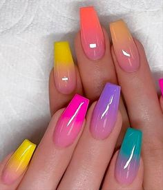These fabulous nail art designs are super unique and glamorous, these will give you the trendy looks and give your nails a whole new edge to them. These designs below and next page include different shades like glitter pink, clear nails with etc. Almond Acrylic Nails, Summer Acrylic Nails, Best Acrylic Nails, Spring Nails, Summer Nails, Almond Nails, Ombre Nail Designs, Acrylic Nail Designs, Nail Art Designs