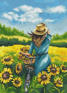 Cross stitch pattern Field of sunflowers and the girl. Cute Cross Stitch, Cross Stitch Rose, Cross Stitch Kits, Cross Stitch Patterns, Cross Stitches, Oil Pastel Drawings, Cross Stitch Landscape, Art Drawings For Kids, Indian Art Paintings