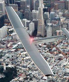 Solar-powered plane completes journey across Pacific Ocean 4/24/16 Solar Impulse 2 flies over San Francisco before landing at Moffett Field