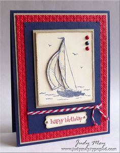 Stamps Sail Away, Party This Way  Card stock & PapersNight of Navy, Sahara Sand, Real Red, Very Vanilla  InkNight of Navy, Sahara Sand, Real Red  AccessoriesMini Silver brads, Brights & Regals brads, Red Bakers Twine (not SU)  Tools    Square Lattice Embossing folder, Big Shot, Modern Label punch, Dimensionals, Sponge Daubers, Carl Corner Punch, Distressing tool