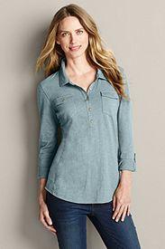Roll-Sleeve Slub Jersey Polo Shirt