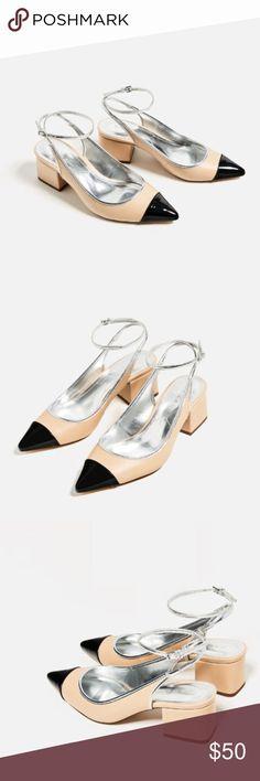 Contrast Slingback Heels - ZARA Heel shoes in contrasting colors (beige/black). Block heel. Strap and buckle fastening at the back. NWT. Size 6 (EU36) Zara Shoes Heels
