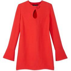 Derek Lam Longsleeve Keyhole Dress ($1,595) ❤ liked on Polyvore featuring dresses, red, long sleeve asymmetrical dress, long sleeve keyhole dress, longsleeve dress, red cocktail dresses and flared sleeve dress