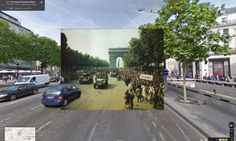 Jubliant crowds line the Champs-Elysées after the liberation of Paris in August 1944