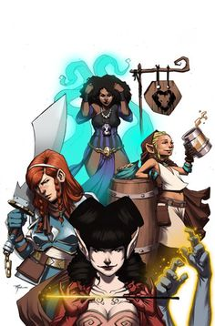 Rat Queens is a fantastic comic about four adventurers! Hannah the Rockabilly Elven Mage, Violet the Hipster Dwarven Fighter, Dee the Atheist Human Cleric and Betty the Hippy Hobbit Thief go full tilt through one misadventure after another, cracking wise and taking care of each other. I love the writing and I love the art. This is worth picking up!