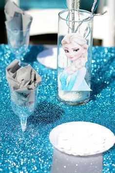 Frozen birthday party table!  See more party planning ideas at CatchMyParty.com!