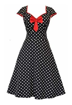 Een klassieker met pit! Zwarte jurk met witte polkadots, rode contrastbies en stevige katoenen, rode afneembare strik. Vanaf de taille loopt de jurk uit in een volle rok.Op de foto wordt de jurk met petticoat getoond, deze is niet inclusief.  Sluit met een rits aan de achterkant. Uitgevoerd in een mooie kwaliteit katoen. Made in London.Stof: Cotton & Elastane (lichte stretch)Lengte: 108 cm