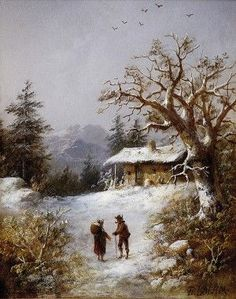 Teodor Boemm (1822-1889) Zimná krajina s figurálnou stafážou Winter Painting, Winter Art, Winter Landscape, Landscape Art, Painting & Drawing, Watercolor Paintings, Cottage Art, Beignets, Bird Art